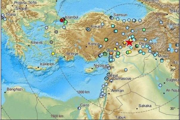 زمینلرزهای به بزرگی 6.9 ریشتر در نزدیکی دیاربکر ترکیه را لرزاند.