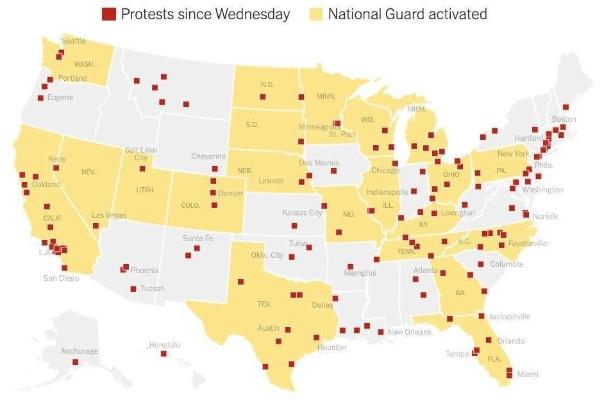 گسترش اعتراضات در آمریکا به 140 شهر/ حالت فوق العاده در 21 منطقه