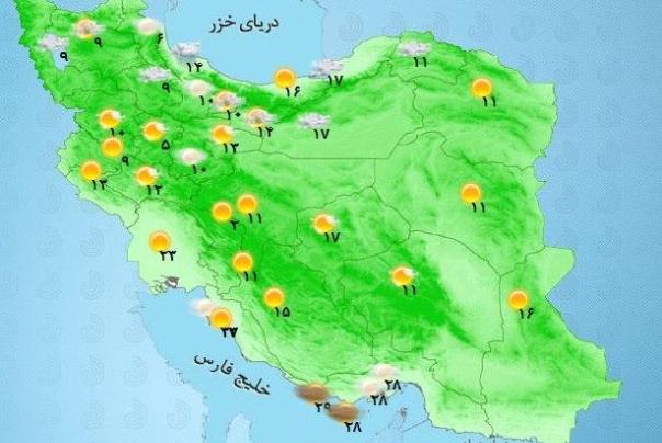 پیش بینی وضعیت آب و هوای آخر هفته دوم مهرماه