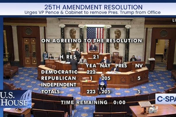 رای مثبت مجلس نمایندگان به قطعنامهای برای الزام پنس به برکناری ترامپ